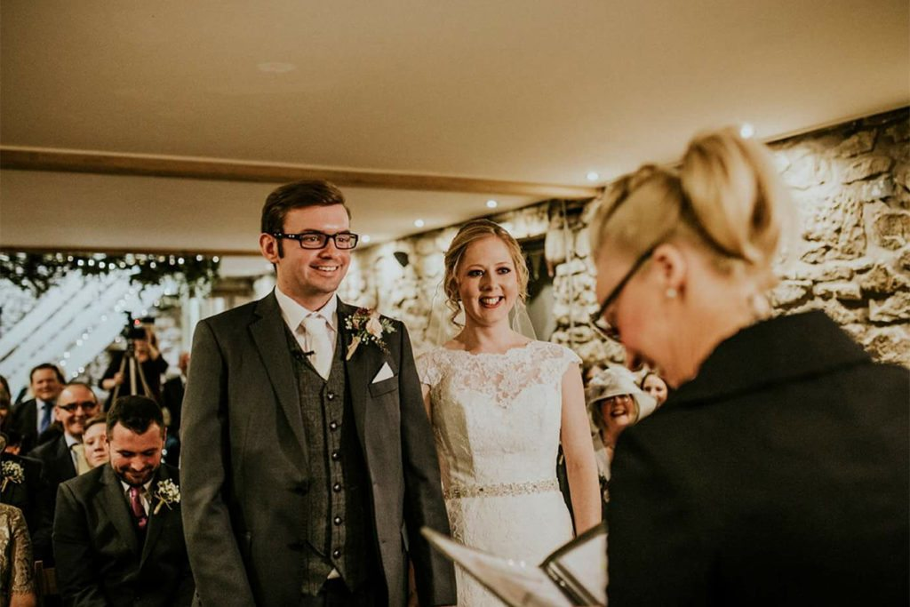 Alun and Rachel during their ceremony