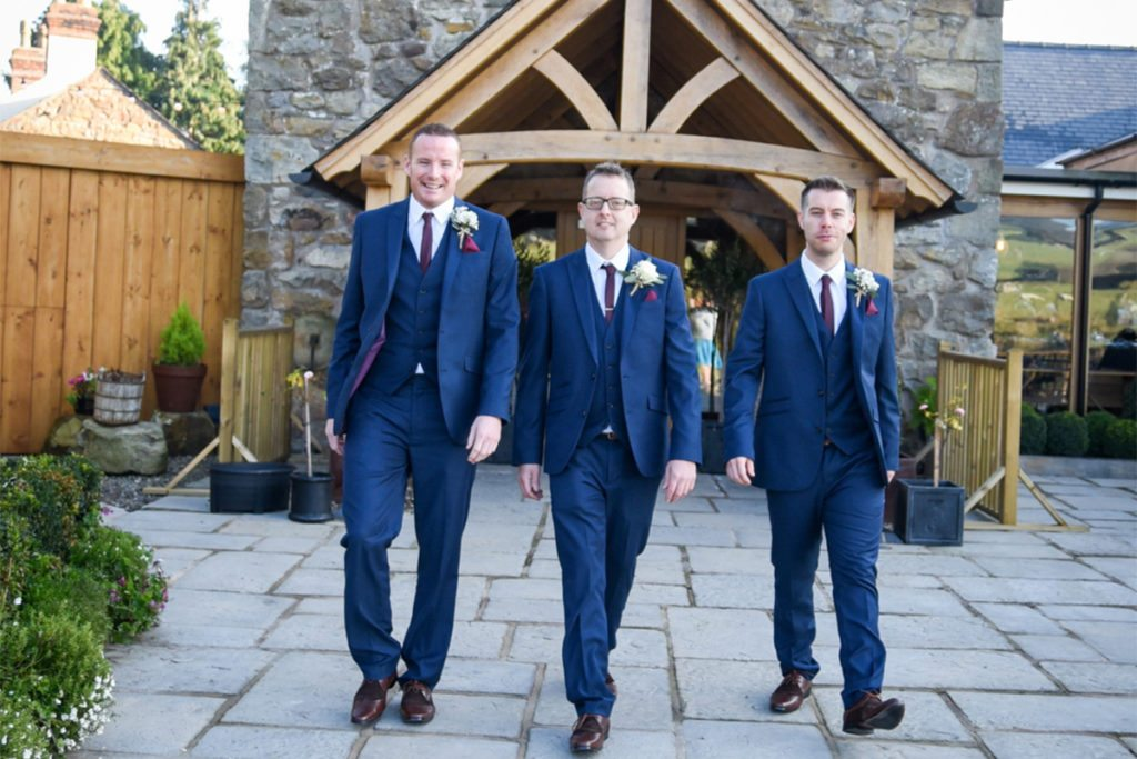 Richard walking with his groomsmen