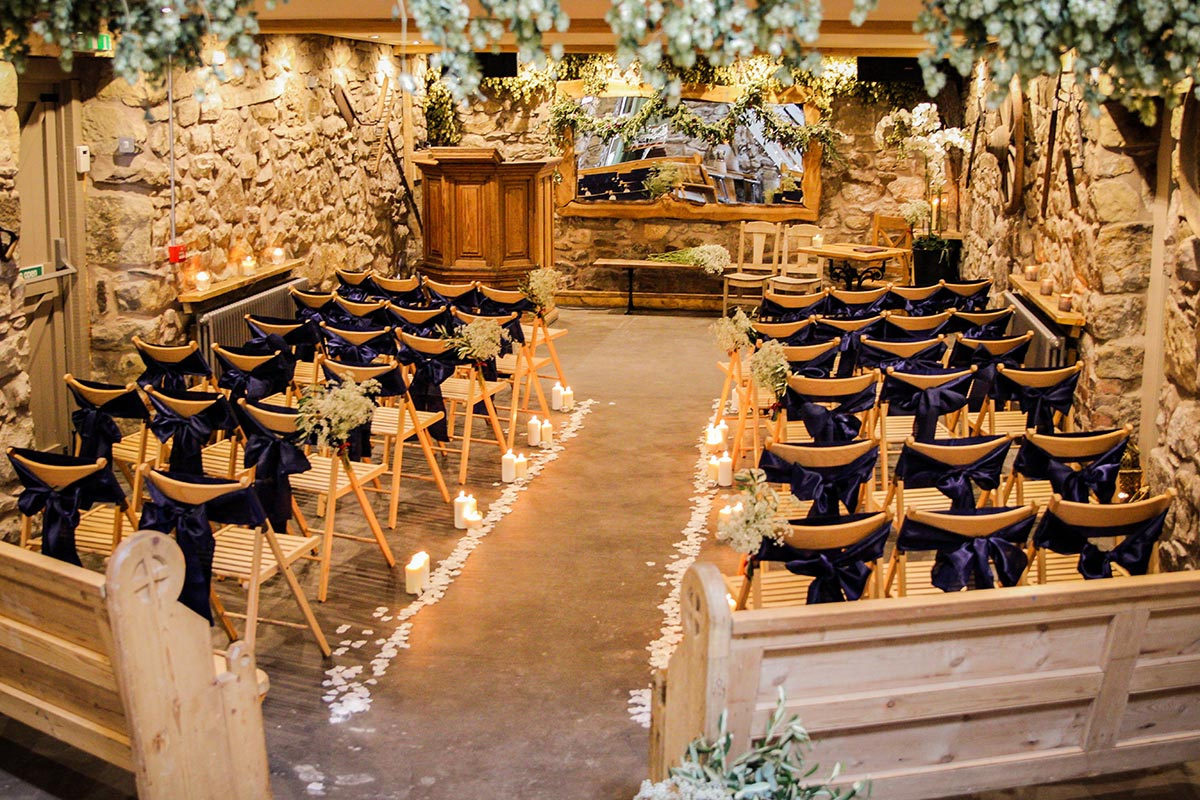 small wooden ceremony location