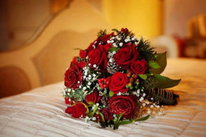 Bunch of Roses and Gysophilas