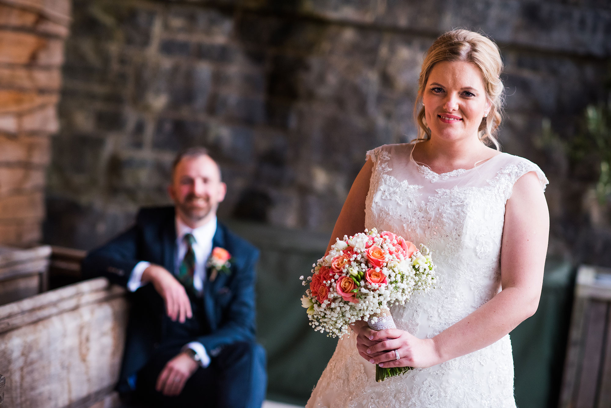 outdoor wedding photography at Tower Hill Barns in North Wales by the Railway Bridge; Jane & Conor