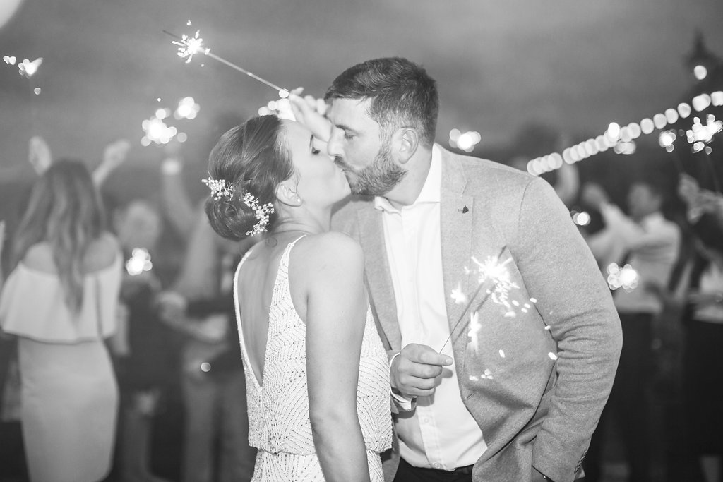 The wedding of Rach and Rich and this classic sparkler shot was featured in Brides Up North