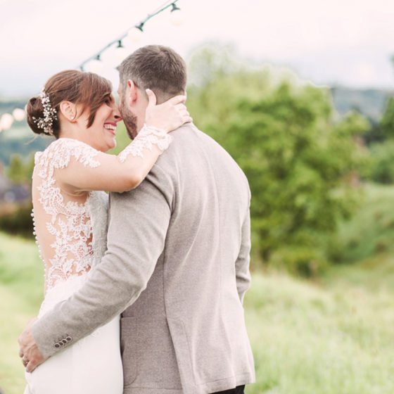Rach and Rich were married outside at Tower Hill Barns during a thunderstorm