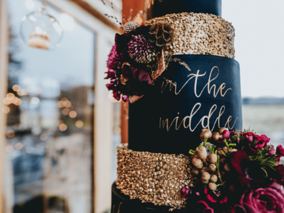 Magical winter wonderland wedding at Tower Hill Barns with styling from Red Floral