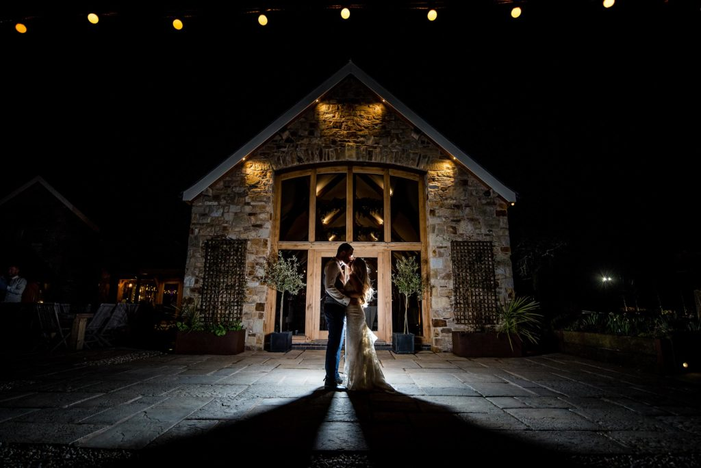 Evening shot of couple at Tower Hill Barns by Joe Bickerton Photography