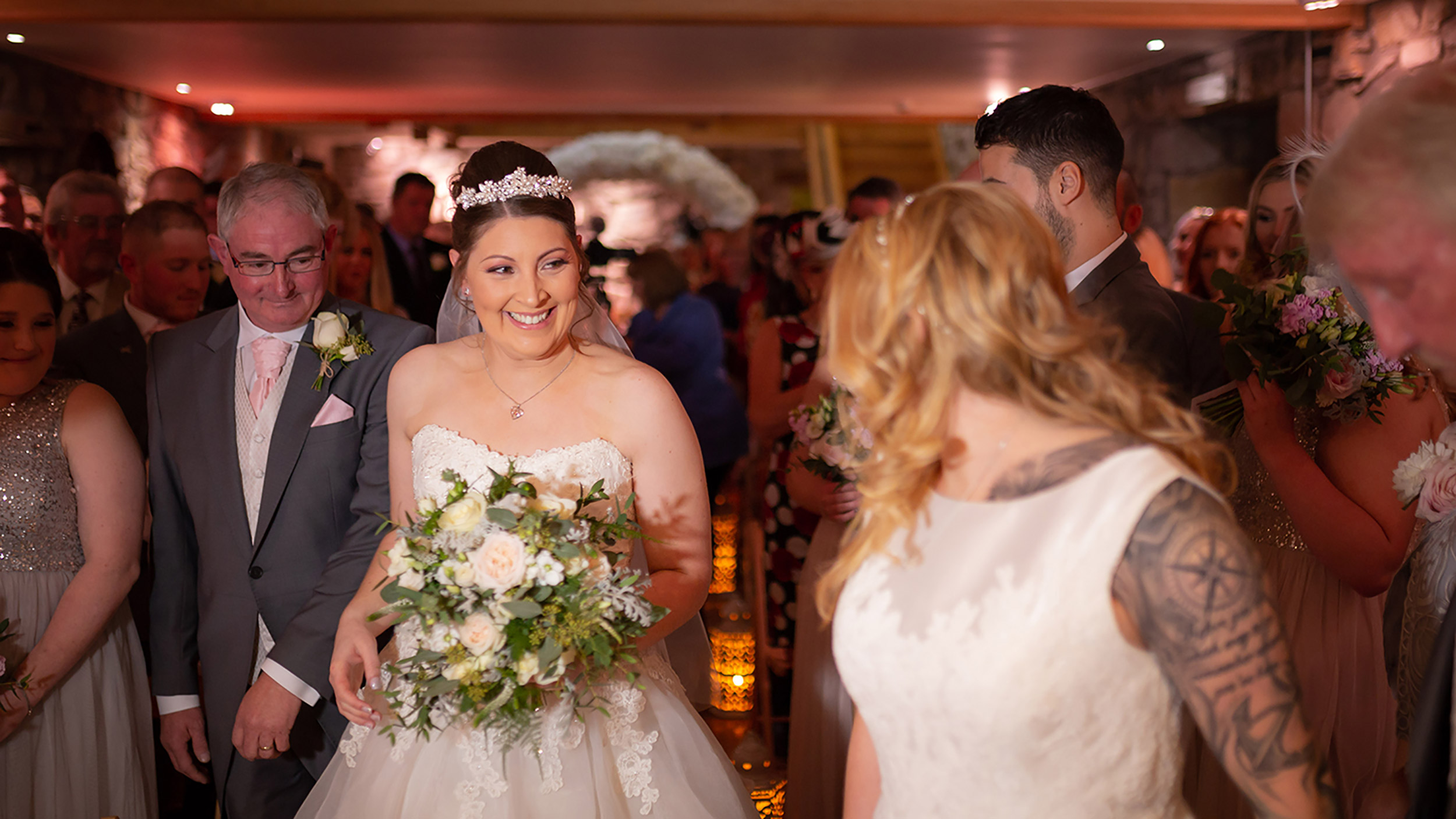 intimate indoor ceremony setting for same-sex Abbie & Emma at Tower Hill Barns photographed by NR Imagery