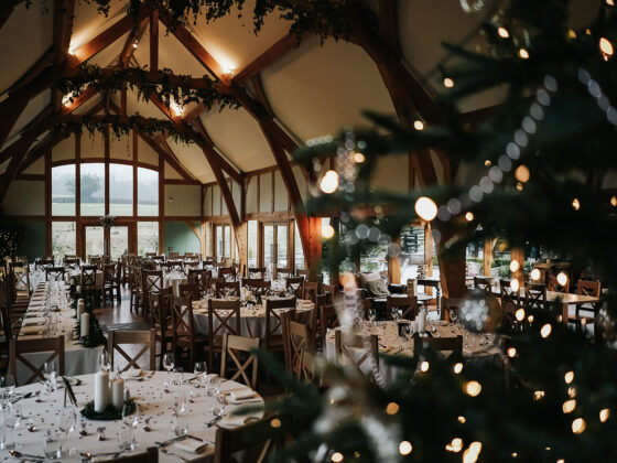 The Dining Hall at Tower Hill Barns decorated for Christmas with a Christmas tree and twinkly lights