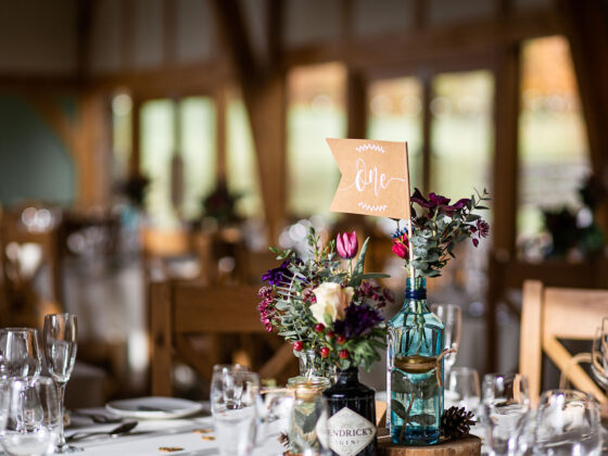 Rustic wedding breakfast table decor - Tower Hill Barns